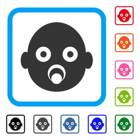 Baby Head icon. Flat grey iconic symbol inside a light blue rounded square. Black, gray, green, blue, red, orange color versions of Baby Head vector. Designed for web and app UI. Illustration