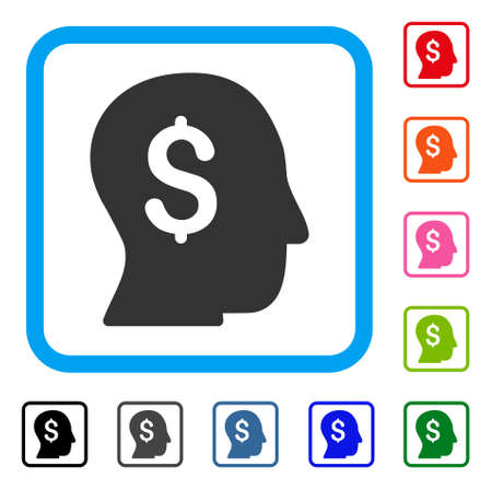 Businessman icon. Flat grey pictogram symbol in a light blue rounded rectangle. Black, gray, green, blue, red, orange color versions of Businessman vector. Designed for web and app user interface. Illustration