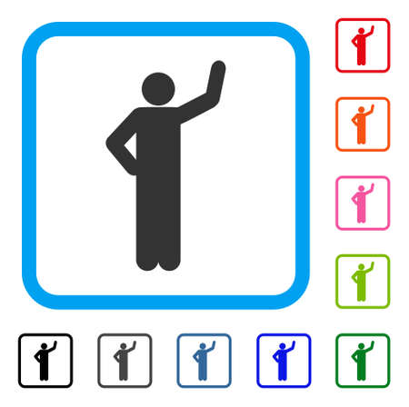 Assurance Pose icon. Flat gray iconic symbol in a blue rounded square. Black, gray, green, blue, red, orange color versions of Assurance Pose vector. Designed for web and software UI.