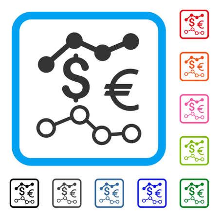 通貨チャート アイコン。丸みを帯びたブルー フラット グレー ピクトグラム シンボルは乗フレームです。黒、灰色、緑、青、赤、オレンジ色の追加
