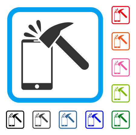Hammer Break Smartphone icon. Flat gray iconic symbol inside a blue rounded rectangular frame. Black, gray, green, blue, red, orange color variants of Hammer Break Smartphone vector. Illustration