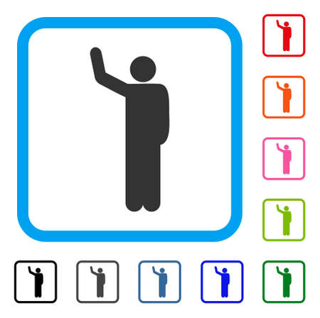 Hello Pose icon. Flat gray iconic symbol inside a blue rounded squared frame. Black, gray, green, blue, red, orange color additional versions of Hello Pose vector. Designed for web and application UI.