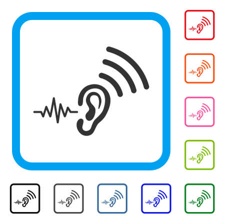 Listen And Transmit icon. Flat gray iconic symbol inside a blue rounded squared frame. Black, gray, green, blue, red, orange color additional versions of Listen And Transmit vector.