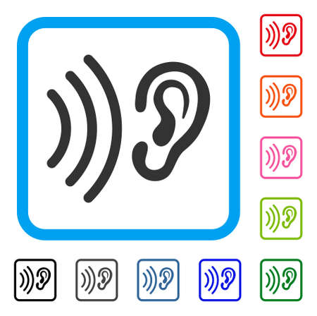 アイコンを聞きます。青い丸い四角いフレームにフラット グレーの象徴的なシンボルです。耳を傾けるベクトルの黒、グレー、緑、青、赤、オレン