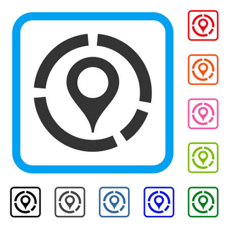 Map Marker Diagram icon. Flat grey pictogram symbol in a blue rounded frame. Black, gray, green, blue, red, orange color versions of Map Marker Diagram vector. Designed for web and software UI.