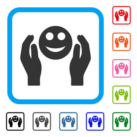 Smile Care Hands icon. Flat gray iconic symbol in a blue rounded squared frame. Black, gray, green, blue, red, orange color additional versions of Smile Care Hands vector. Illustration