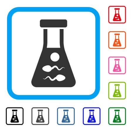 Sperm Retort icon. Flat gray pictogram symbol inside a blue rounded square. Black, gray, green, blue, red, orange color additional versions of Sperm Retort vector. Designed for web and software UI. Illustration