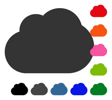 Cloud icon. Flat gray pictogram symbol inside a blue rounded squared frame. Black, gray, green, blue, red, orange color variants of Cloud vector. Designed for web and application UI. Illustration