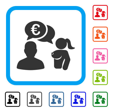 Euro Adult Chat icon. Flat gray iconic symbol inside a blue rounded square. Black, gray, green, blue, red, orange color additional versions of Euro Adult Chat vector. Illustration