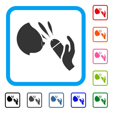 Female Breast Blowjob Ejaculation icon. Flat gray pictogram symbol inside a blue rounded squared frame. Black, gray, green, blue, red, Ilustrace
