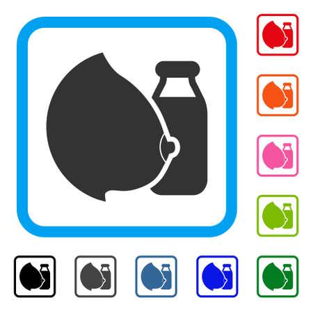 Mother Tit Milk Bottle icon. Flat gray pictogram symbol inside a blue rounded frame. Black, gray, green, blue, red, orange color versions of Mother Tit Milk Bottle vector. Illustration