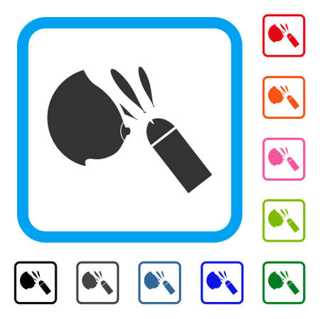 Female Breast Sperm Ejaculation icon. Flat gray pictogram symbol in a blue rounded rectangle. Black, gray, green, blue, red, orange color variants of Female Breast Sperm Ejaculation vector.