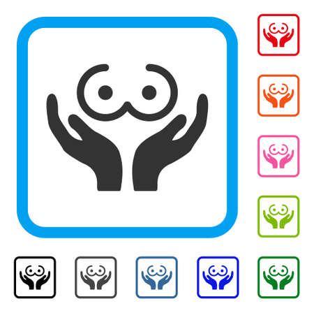 Female Tits Care Hands icon. Flat gray pictogram symbol in a blue rounded rectangular frame. Black, gray, green, blue, red, orange color additional versions of Female Tits Care Hands vector.