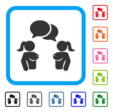 Naked Lady Chat icon. Flat gray pictogram symbol inside a blue rounded frame. Black, gray, green, blue, red, orange color additional versions of Naked Lady Chat vector. Designed for web and app UI.