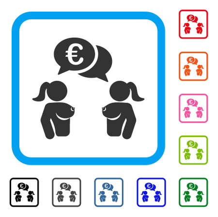 Naked Lady Euro Chat icon. Flat gray pictogram symbol in a blue rounded squared frame. Black, gray, green, blue, red, orange color variants of Naked Lady Euro Chat vector. Illustration