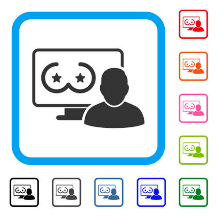 Online Erotics Censored User icon. Flat grey pictogram symbol in a blue rounded squared frame. Black, gray, green, blue, red, orange color variants of Online Erotics Censored User vector. Иллюстрация