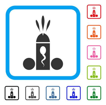 Sperm Ejaculation icon. Flat grey pictogram symbol in a blue rounded squared frame. Black, gray, green, blue, red, orange color variants of Sperm Ejaculation vector.