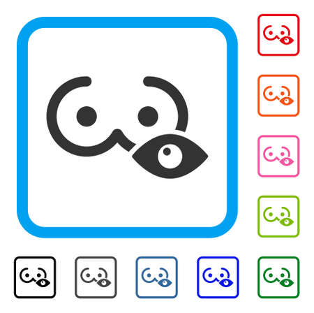 View Female Tits icon. Flat gray pictogram symbol inside a blue rounded rectangle. Black, gray, green, blue, red, orange color versions of View Female Tits vector. Designed for web and software UI.