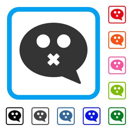 Icône de Smiley muet. Symbole iconique plat gris dans un carré arrondi bleu. Variantes de couleurs noires, grises, vertes, bleues, rouges, orange du vecteur de message Smiley muet. Conçu pour l'interface Web et logicielle. Vecteurs