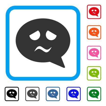 悲しみスマイル メッセージ アイコン。青角丸四角形内のフラット グレー ピクトグラム シンボル。悲しみスマイル メッセージ ベクターの黒、グレ