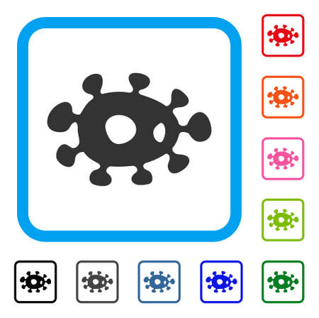 Bacteria icon. Flat grey iconic symbol inside a blue rounded square. Black, gray, green, blue, red, orange color variants of Bacteria vector. Designed for web and software interfaces. Illustration
