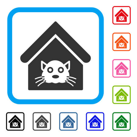 Cat House icon. Flat gray iconic symbol in a blue rounded square. Black, gray, green, blue, red, orange color variants of Cat House vector. Designed for web and software UI.