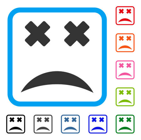 Dead Smile Icon Flat Grey Iconic Symbol Inside A Blue Rounded