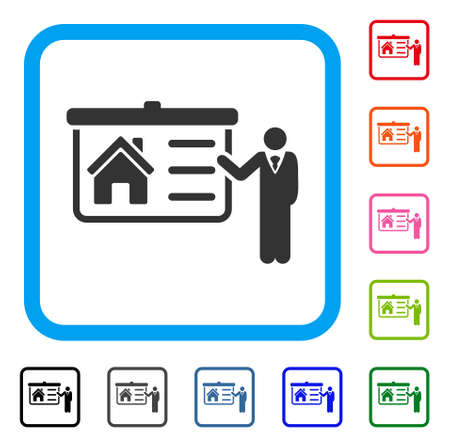 House Presentation icon. Flat grey iconic symbol inside a blue rounded frame. Black, gray, green, blue, red, orange color additional versions of House Presentation vector. Ilustrace