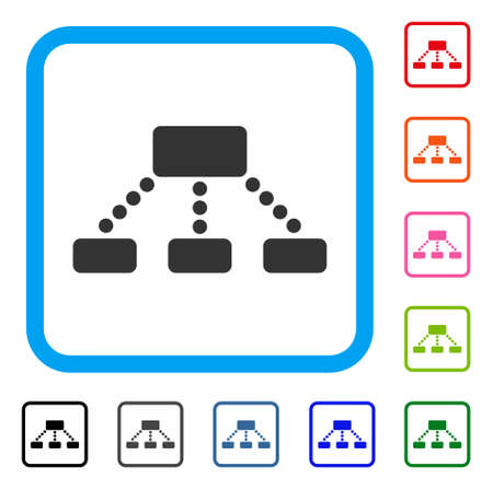 Hierarchy icon. Flat grey pictogram symbol inside a blue rounded square. Black, gray, green, blue, red, orange color versions of Hierarchy vector. Designed for web and software user interface.