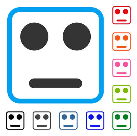 無関心な笑顔のアイコン。ブルーの角丸長方形でフラット グレーの象徴的なシンボルです。黒、グレー、緑、青、赤、オレンジ色の追加バージョン  イラスト・ベクター素材