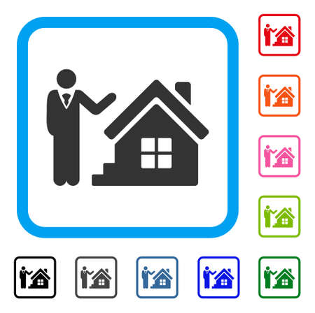Realty Agent in flat style icon.