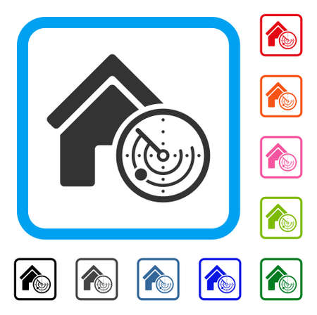 Realty Radar icon. Flat grey pictogram symbol inside a blue rounded frame. Black, gray, green, blue, red, orange color versions of Realty Radar vector. Designed for web and application user interface. Illustration