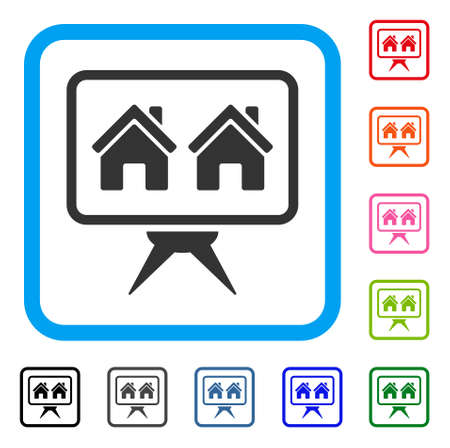 Realty Project icon. Flat grey iconic symbol in a blue rounded square. Black, gray, green, blue, red, orange color variants of Realty Project vector. Designed for web and application UI. Stock Vector - 88667275