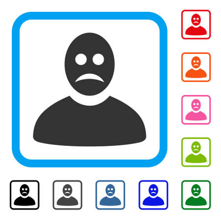 Sad Person icon. Flat gray pictogram symbol inside a blue rounded rectangular frame. Black, gray, green, blue, red, orange color additional versions of Sad Person vector.