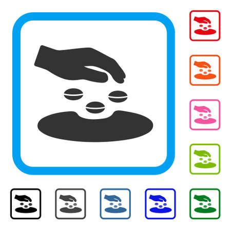 """Symbol """"Saatgut"""". Flaches graues Piktogrammsymbol innerhalb eines blauen gerundeten Rahmens. Schwarze, graue, grüne, blaue, rote, orange Farbvarianten des Saatvektors. Entwickelt für Web- und Anwendungs-Benutzeroberfläche. Standard-Bild - 88667471"""