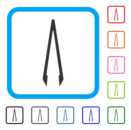 Tweezers icon. Flat gray pictogram symbol in a blue rounded frame. Black, gray, green, blue, red, orange color versions of Tweezers vector. Designed for web and software interfaces.