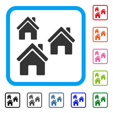 Village Buildings icon. Flat gray iconic symbol in a blue rounded squared frame. Black, gray, green, blue, red, orange color versions of Village Buildings vector.