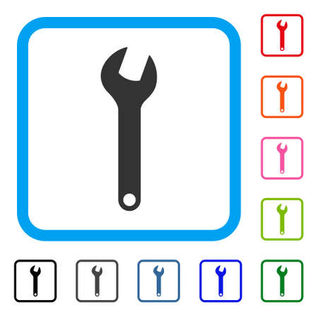 Wrench icon. Flat grey pictogram symbol in a blue rounded square.