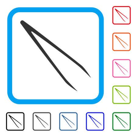 Icône de la pince à épiler. Symbole de pictogramme gris plat dans un cadre arrondi bleu.