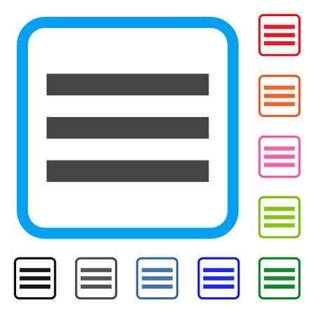 Menu icon. Flat gray iconic symbol inside a blue rounded rectangle. Illustration