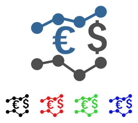 通貨チャート アイコン。ベクトル図のスタイルは、黒、赤、緑、青のカラー バージョンのフラット象徴的な通貨チャート シンボルです。Web とソフ