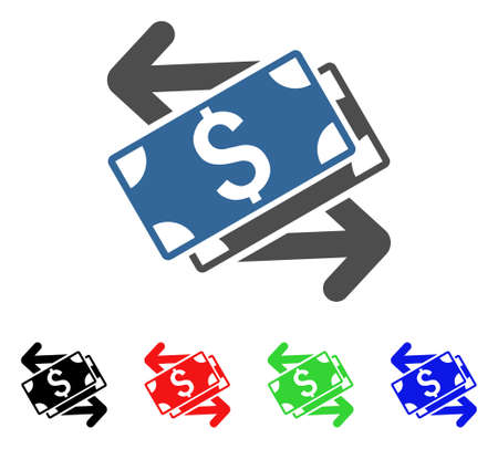 Dollar Banknotes Exchange icon. Vector illustration style is a flat iconic dollar banknotes exchange symbol with black, red, green, blue color variants. Designed for web and software interfaces. Illustration