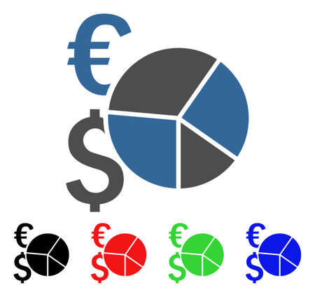 Financial Pie Chart icon. Vector illustration style is a flat iconic financial pie chart symbol with black, red, green, blue color variants. Designed for web and software interfaces.
