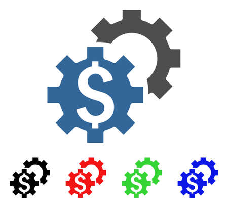 Financial Settings icon. Vector illustration style is a flat iconic financial settings symbol with black, red, green, blue color variants. Designed for web and software interfaces. Illustration