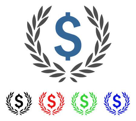 Laurel Bank Emblem icon. Vector illustration style is a flat iconic laurel bank emblem symbol with black, red, green, blue color variants. Designed for web and software interfaces.