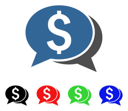 Financial Chat icon. Vector illustration style is a flat iconic financial chat symbol with black, red, green, blue color versions. Designed for web and software interfaces. Illustration