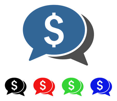 Money Chat icon. Vector illustration style is a flat iconic money chat symbol with black, red, green, blue color variants. Designed for web and software interfaces.