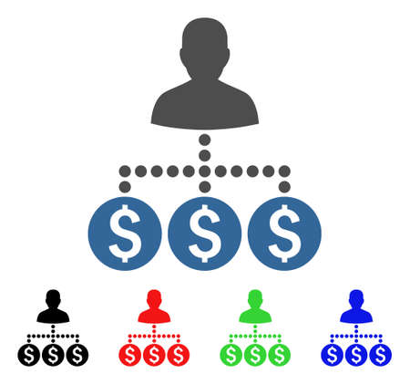 Money Collector icon. Vector illustration style is a flat iconic money collector symbol with black, red, green, blue color versions. Designed for web and software interfaces.
