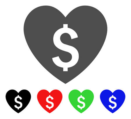 Paid Love icon. Vector illustration style is a flat iconic paid love symbol with black, red, green, blue color versions. Designed for web and software interfaces. Illustration