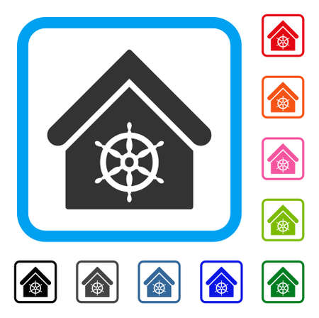 Steering Wheel House icon. Flat grey iconic symbol inside a blue rounded frame. Black, gray, green, blue, red, orange color additional versions of Steering Wheel House vector.